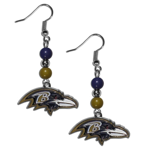 Baltimore Ravens Fan Bead Dangle Earrings