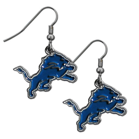 Detroit Lions Chrome Dangle Earrings