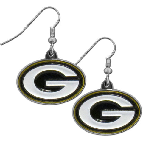 Green Bay Packers Chrome Dangle Earrings