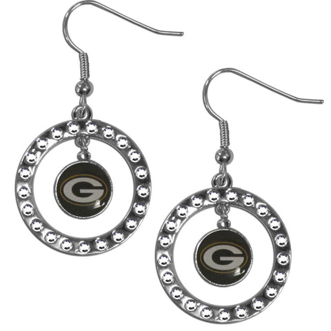 Green Bay Packers Rhinestone Hoop Earrings