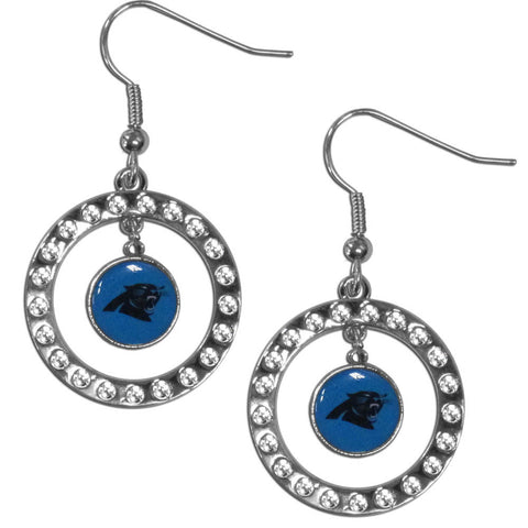 Carolina Panthers Rhinestone Hoop Earrings