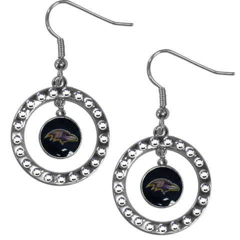 Baltimore Ravens Rhinestone Hoop Earrings
