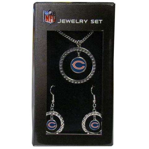 Chicago Bears Rhinestone Hoop Jewelry Set