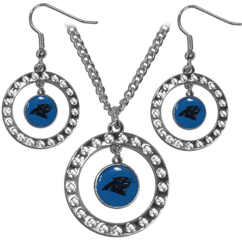 Carolina Panthers Rhinestone Hoop Jewelry Set