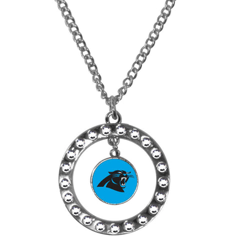 Carolina Panthers Rhinestone Hoop Necklace