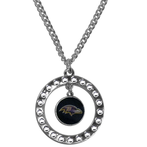 Baltimore Ravens Rhinestone Hoop Necklace