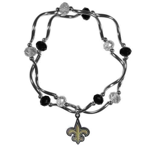 New Orleans Saints Crystal Bead Bracelet