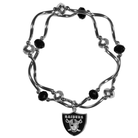 Oakland Raiders Crystal Bead Bracelet