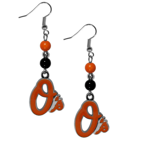 Baltimore Orioles Fan Bead Dangle Earrings