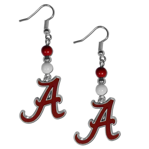 Bead Dangle Earrings - Alabama Crimson Tide Fan Bead Dangle Earrings