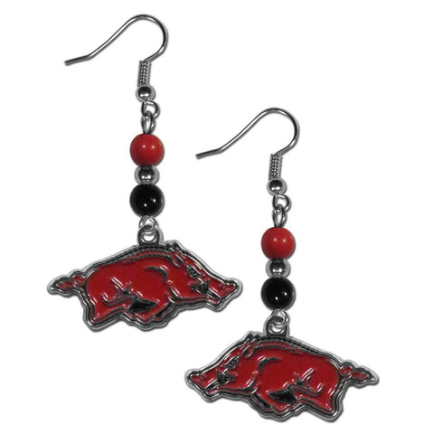 Bead Dangle Earrings - Arkansas Razorbacks Fan Bead Dangle Earrings