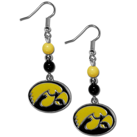 Bead Dangle Earrings - Iowa Hawkeyes Fan Bead Dangle Earrings