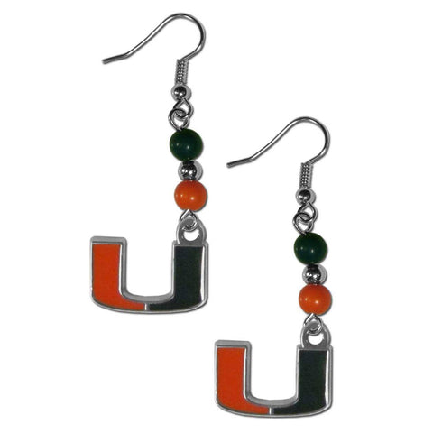 Bead Dangle Earrings - Miami Hurricanes Fan Bead Dangle Earrings