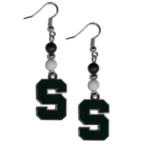 Bead Dangle Earrings - Michigan St. Spartans Fan Bead Dangle Earrings