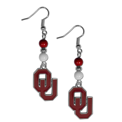 Bead Dangle Earrings - Oklahoma Sooners Fan Bead Dangle Earrings