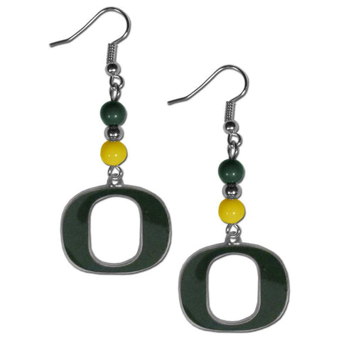 Bead Dangle Earrings - Oregon Ducks Fan Bead Dangle Earrings