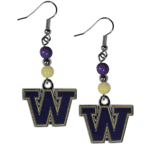 Bead Dangle Earrings - Washington Huskies Fan Bead Dangle Earrings