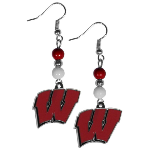 Bead Dangle Earrings - Wisconsin Badgers Fan Bead Dangle Earrings