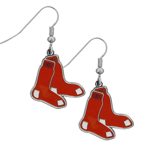 Boston Red Sox Chrome Dangle Earrings