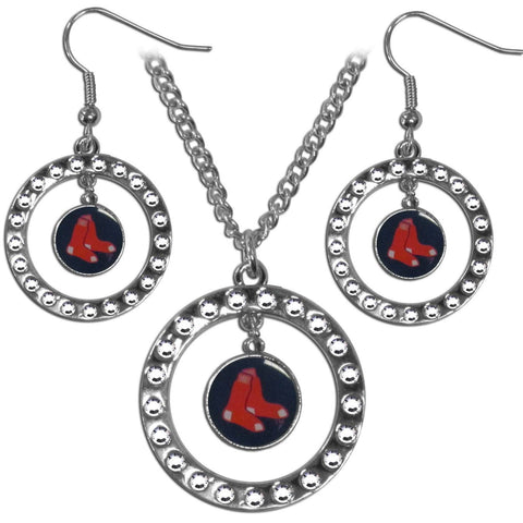 Boston Red Sox Rhinestone Hoop Jewelry Set