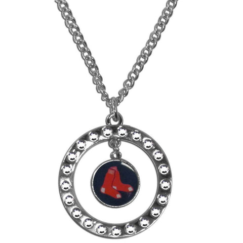 Boston Red Sox Rhinestone Hoop Necklace