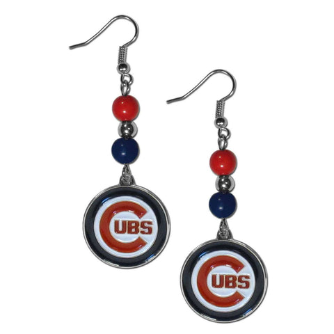 Chicago Cubs Fan Bead Dangle Earrings