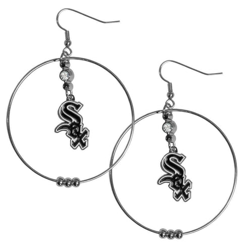 Chicago White Sox 2 Inch Hoop Earrings