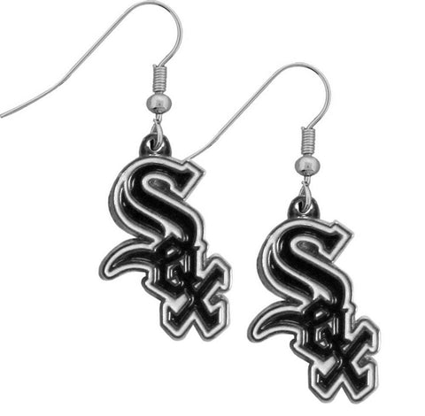 Chicago White Sox Chrome Dangle Earrings