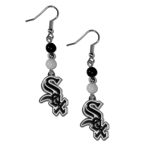 Chicago White Sox Fan Bead Dangle Earrings