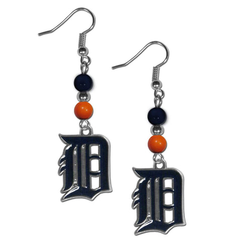 Detroit Tigers Fan Bead Dangle Earrings
