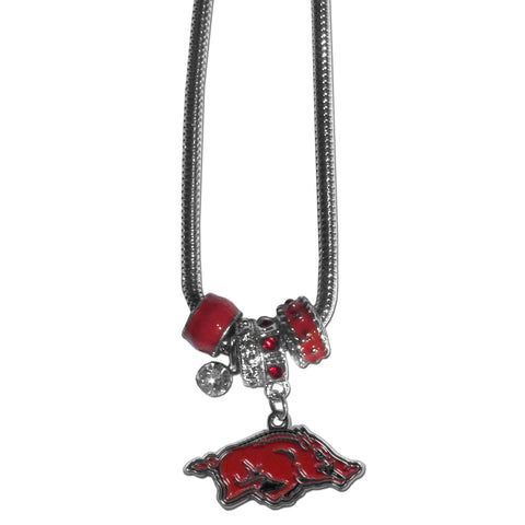 Euro Bead Necklace - Arkansas Razorbacks Euro Bead Necklace