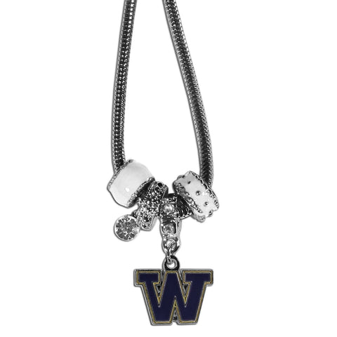Euro Bead Necklace - Washington Huskies Euro Bead Necklace