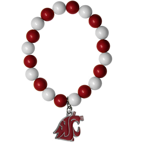 Fan Bead Bracelet - Washington St. Cougars Fan Bead Bracelet