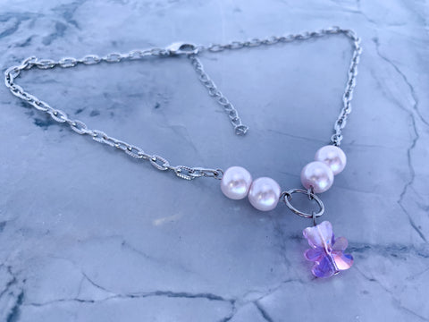 Purple Crystal Teddy necklace