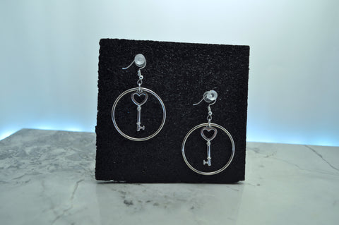 Heart Key Hoop earrings