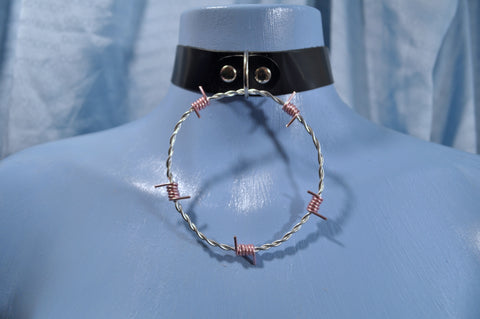 Silver & Pink Barb Wire collar
