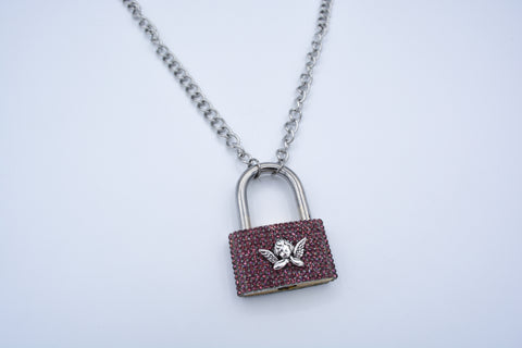 Pink Diamond Lock stainless necklace