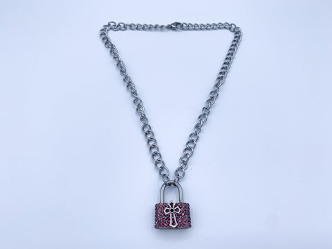 Pink Cross Lock necklace