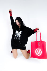 Red Biohazard tote bag