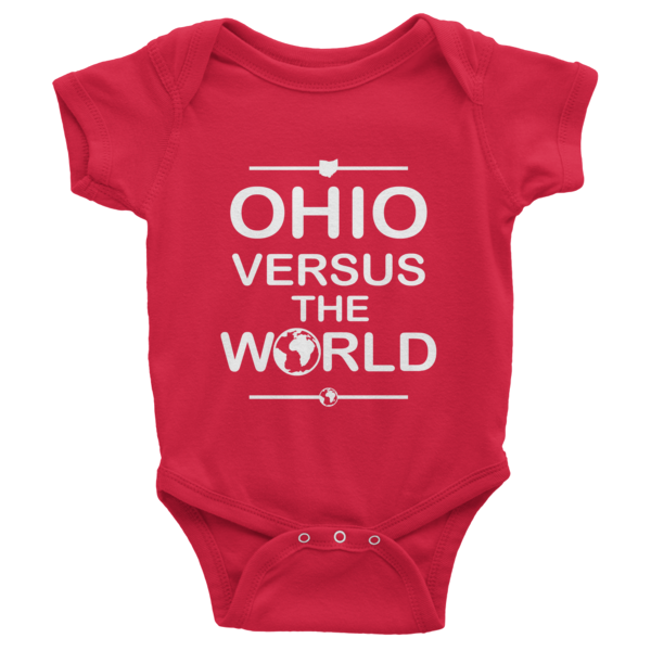"The ""OhioVsWorld"" Infant short sleeve one-piece (white print)"