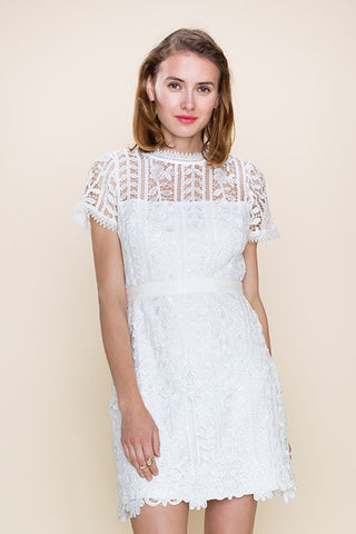 Solid crochet Lace Detailed Short Sleeve Dress 65134