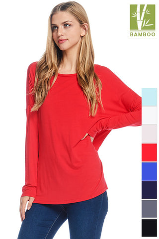 Tanboocel Bamboo Long Sleeve Shirts Solid Long Sleeve Bamboo Tops 24058