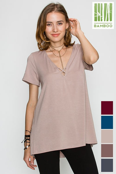 Tanboocel Bamboo Solid Short SLV Deep Vneck open keyhole Detail Top 24071