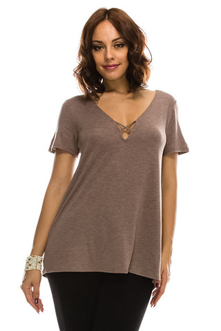 (Plus Size) Short Sleeve Deep V neck Tunic Tanboocel Bamboo Top 24071