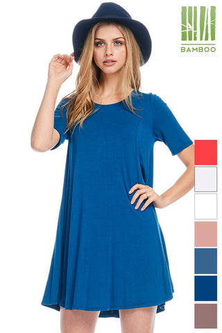 Tanboocel Bamboo SHORT SLEEVE TUNIC / BACK STRAPPY DETAILED 24131