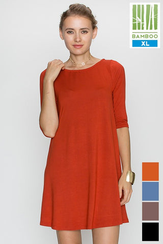 Tanboocel Bamboo dress Solid Elbow Sleeve Neck Casual Dress 24220
