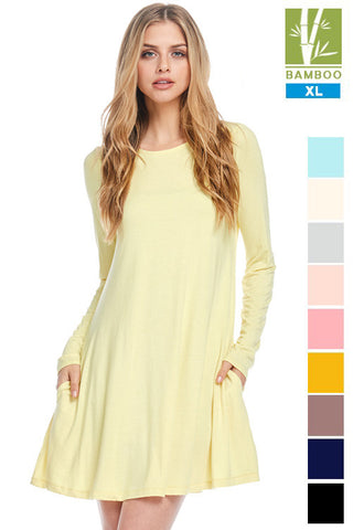 Tanboocel Bamboo Dress Long Sleeve Round Neck Casual Dress 24222-2