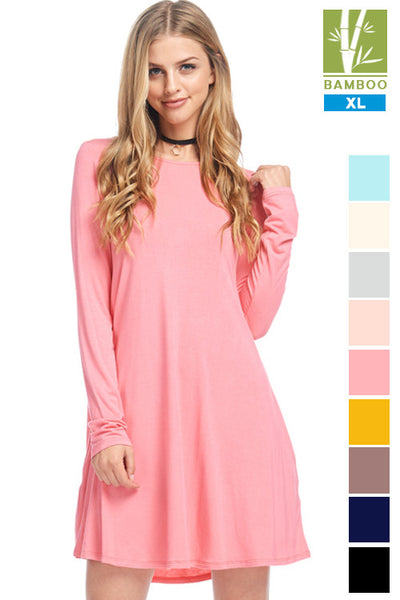 Tanboocel Bamboo Dress Long Sleeve Round Neck Casual Dress 24222