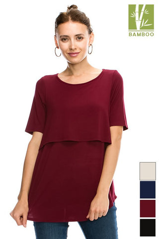 SOLID LAYERED Top Tanboocel Bamboo SHORT SLEEVE ROUND NECK  TOP 24232