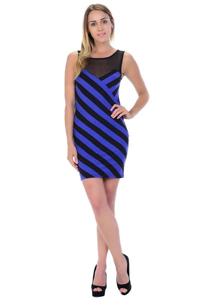 Womens Striped Dress Mesh Front Sleeveless Mini Dress 32146